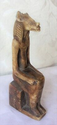 Antique Figurine Egyptian Ancient Cat God statue Unique Natural stone Flawed Ear
