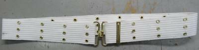 """White Pistol Belt With Brass Colored Fittings - 44"""" - #eq791"""