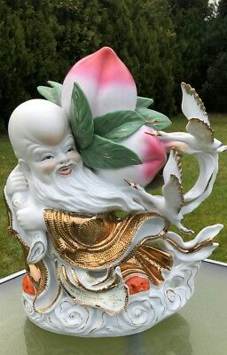 Antique Vintage Chinese Oriental God of Longevity with Peach