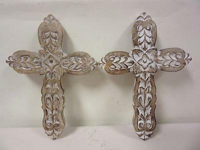 """Pair 13"""" Wooden Crosses Hand Carved Painted White Wash Finish Cross Wall Decor"""