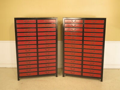 F23935E/F23936E: Pair Chinese Oriental Painted 28 Drawer High Chests