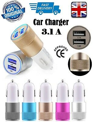 Twin Dual Double 2 USB Port 12V In Car Socket Lighter fast Charger Adapter UK