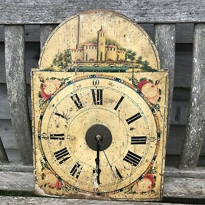 Antique Hand Painted Wooden Clock Face Flowers