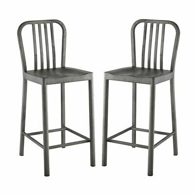 Modway Clink 26 Metal Counter Stool In Silver Set Of 2 26961