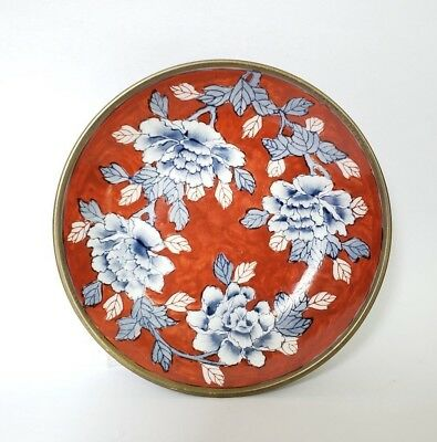 """Vintage Overjoy Chinese Porcelain & Brass Bowl Hand Painted Hong Kong 7 5/8"""""""