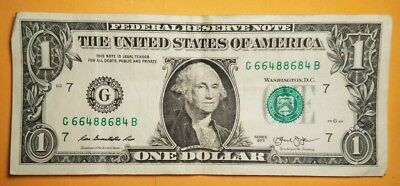 $1 One Dollar Bill 2013 Fancy Trinary Serial Number 66488684