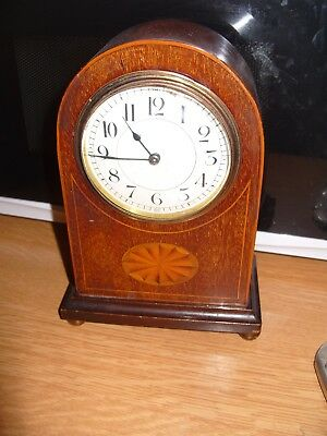 mantel clock FRENCH ESCAPEMENT BALANCE WORKING   WITH  KEY  WITH INLAY CASE