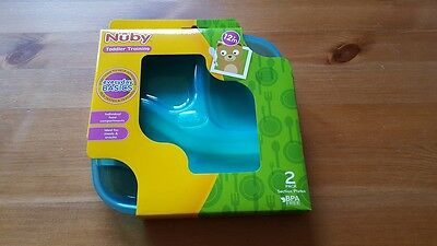 Nuby Plastic Plates (2 Per Pack) 12m+ Toddler Training (Boy)