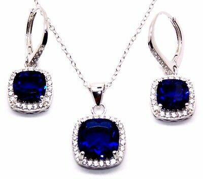 Sterling Silver Blue Sapphire And Diamond 8.46ct Cluster Necklace Set (925)