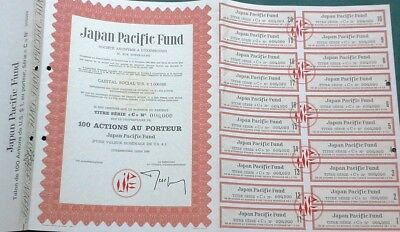 Japan Japanese 1969 Luxembourg Pacific Fund $ 1 US 100 Actions Coupons Bond Loan
