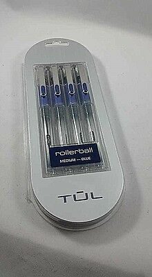 TUL Rollerball Pens Medium .7MM Blue Ink 4 PK FREE 1ST CLASS SHIPPING TRACKING