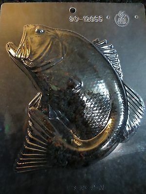 "LARGE 7"" BASS PIECE MOLD candy chocolate gone fishing fish small mouth"