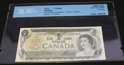 1973 $1 Dollar Bank of Canada TEST NOTE Crown Bouey BC-46bT UNC-64