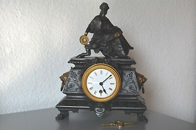 Antique figure mantle clock. Rare French movement. Working order.