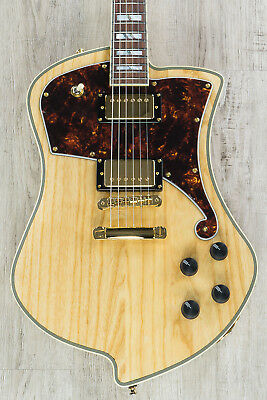 D'Angelico Deluxe Ludlow Solidbody Electric Guitar, Hard Case- Natural Swamp Ash