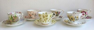 Lot of 6 'Mad Hatter' Garden/Flowers Tea Party /Tea Cup Matching Saucers (25)