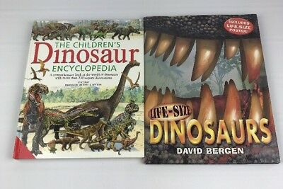 Lot of 2 Large Dinosaurs Childrens Books Encyclopedia Life Size Poster Classroom