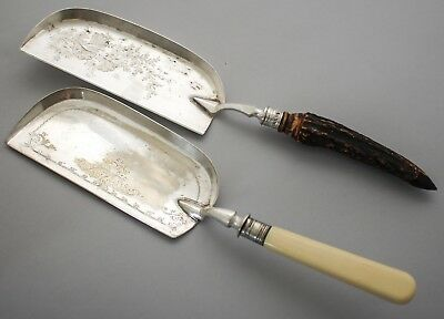 Antique silver plate pair 2 crumber scoops stag antler horn handle Aesthetic