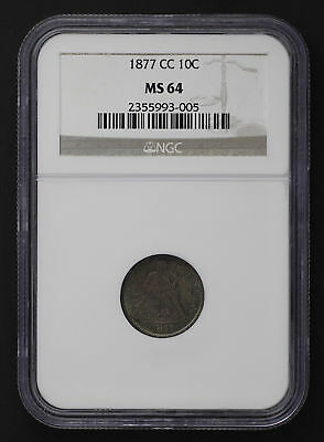 1877-CC Seated Liberty Silver Dime NGC MS-64 Blue-Purple Toning -95747