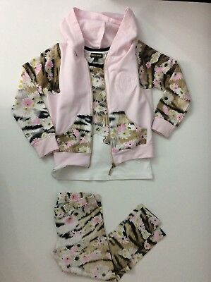 Roberto Cavalli Girls 3 Piece Outfit Set Hoodie Leggings Top Age 5 Years / 115