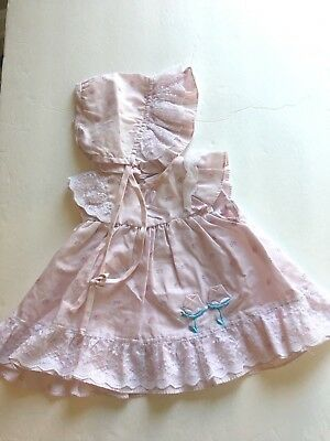 Vintage Mayfair Baby Girl Two Piece Outfit Pink with Lace and Flowers Newborn