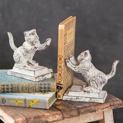 One Set Distressed Weathered Cast Iron Playful Cat Collection - Bookends