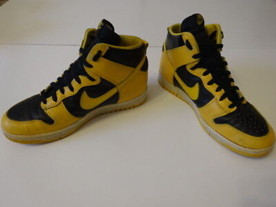 Vintage 80s Original NIKE 1985 DUNK Hi IOWA Yellow/Black Basketball Shoes US 9.5
