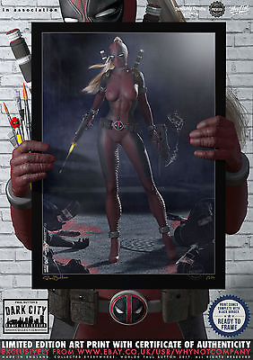Lady Deadpool Wanda Wilson X-Men Dark City Comic Print 200 Limited Edition