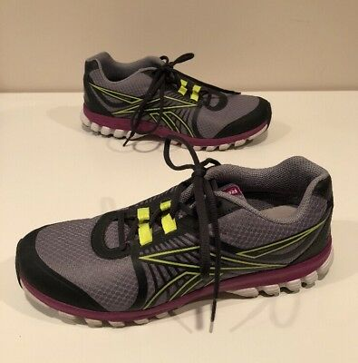 55d2d13f42b REEBOK ZIGNANO FLY 2 Running Athletic Shoes Gray Pink Yellow Womens ...