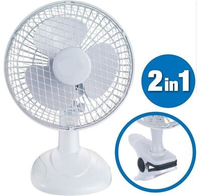 "2 In 1 6"" Inch Clip On Fan Portable Desk Table 2 Speed Tilt Office Home Cool Air"