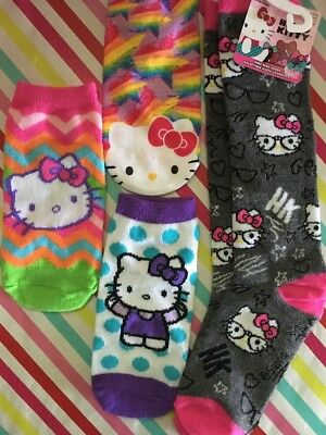 048afd693 HELLO KITTY CHARACTER SOCKS 4 Pair Girls Fit Sizes 6-8.5 Cute Brand New