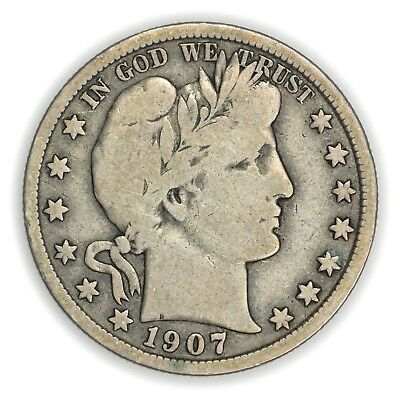 1907 Barber Half Dollar, Large, Early Type Silver Coin [3649.14]