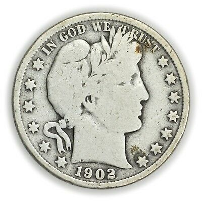 1902 Barber Half Dollar, Large, Early Type Silver Coin [3649.18]