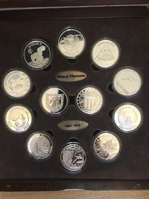COIN COLLECTION 10 SILVER PLATED W/COA  Apollo Missions 1967-1972  Space Rare