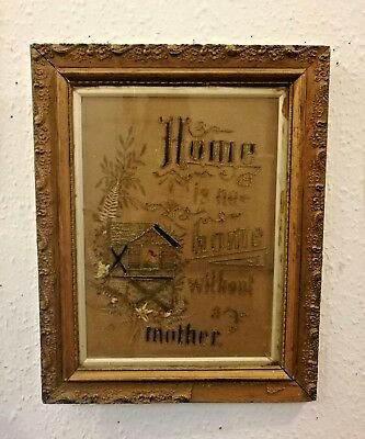 Antique Victorian gilt  framed tapestry home is no home without a mother sampler