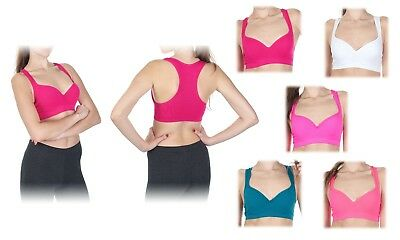 Racerback Padded Push Up Sports Bra With Wire Support Seamless Gym Yoga Bandeau