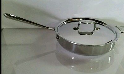 All Clad 3 quart d5 SAUTE PAN Polished Stainless With Lid & Loop Handle *NEW*