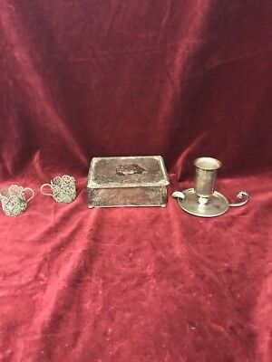 VINTAGE  SILVER PLATED 4 pc box Apollo Cambridge Candle holder MHB cups Misc.