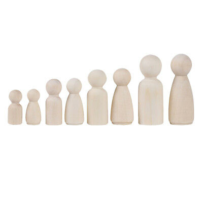 12 Natural Unpainted Wooden Peg Doll Bodies People Shapes Art Craft Kids Toy