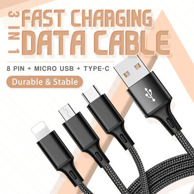 3 in 1 multiple USB charging cable for Lightning USB type C Micro USB port (1m)
