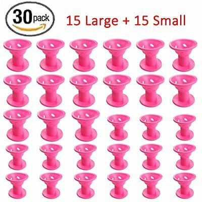 Hair Care Rollers Curlers Silicone No Clip Hair Style Rollers Soft Magic 30 Pcs