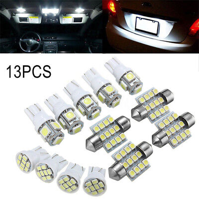 13* Car White LED Lights Kit for Stock Interior & Dome & License Plate Lamps Pop