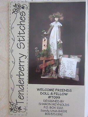 Tenderberry Stitches pattern WELCOME FRIENDS Country DOLL & PILLOW S Reynolds