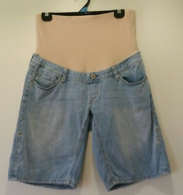JEANSWEST Size 10 Maternity Short Light Blue Denim Casual Outdoor Cool