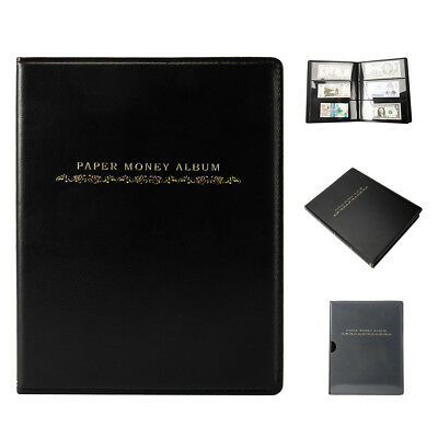 60 Pockets Leather Notes Album Banknote Paper Money Collection Stamp Ticket Book