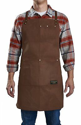 Craftsmans Guild Waxed Canvas Heavy Duty Apron Leather Straps Utility Tool BBQ &