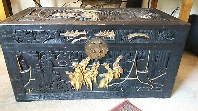 19th Century Antique Chinese Hand Carved Wooden Chest