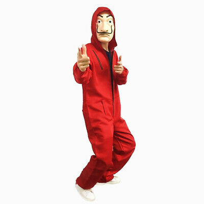 La Casa De Papel Salvador Dali Red Costume Jumpsuits Cosplay Money Heist Hoodie
