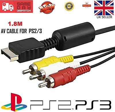 1.8M Composite Video AV Cable Lead for Sony Playstation 1 2 3 PS1 PS2 PS3