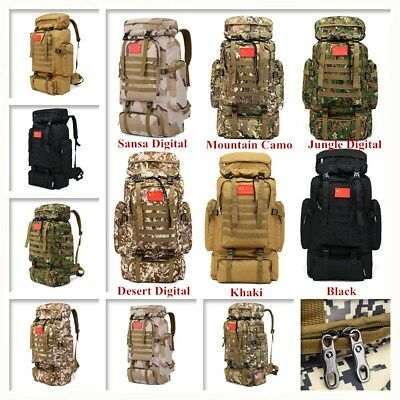 70L Large Military Tactical Army Backpack Rucksack Camping Hiking Trekking Bag